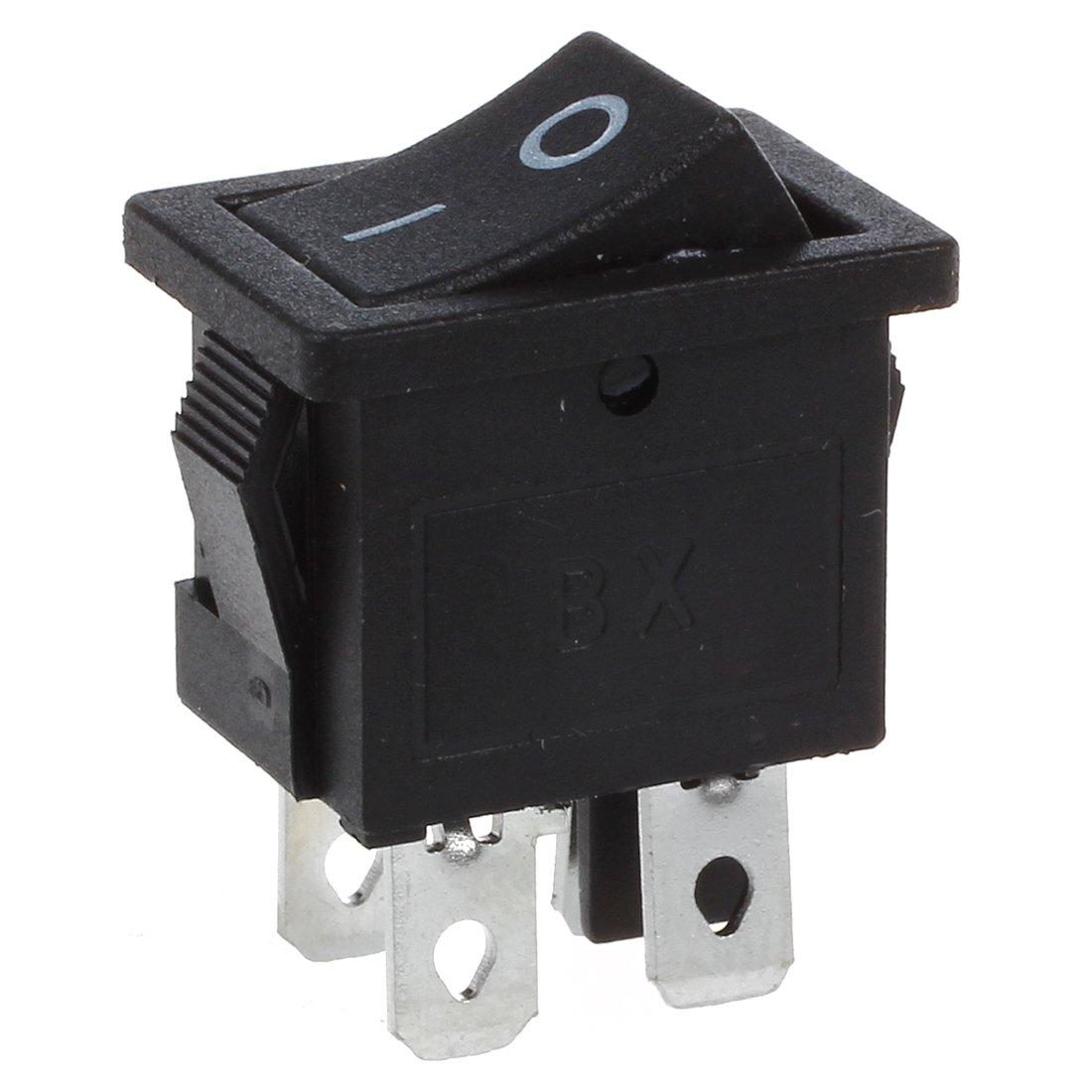 Interruptor - TOOGOO(R) 10pzs x 4 Pines Encendido -apagado 2 posiciones DPST Interruptores basculantes de barco 10A/125V 6A/250V AC SHOMAGT10778