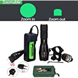 VASTFIRE Zoomable Green Light Hunting Flashlight 150 Yard Tactical Torch for Hog Coyote Fox Varmint Predator Deer Raccoon Opossum Spring Turkey Night Hunting