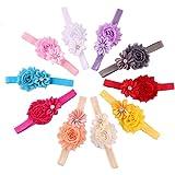 Maolanku Fascia del fiore 10pcs neonata elastica multicolore strass Fascia per capelli