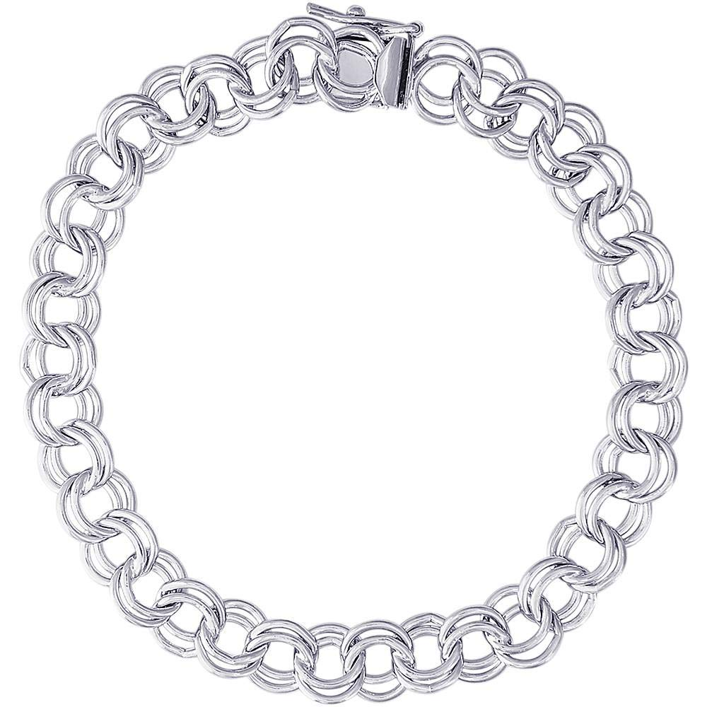 Rembrandt Charms, 7'' Large Double Link Curb Classic Charm Bracelet.925 Sterling Silver