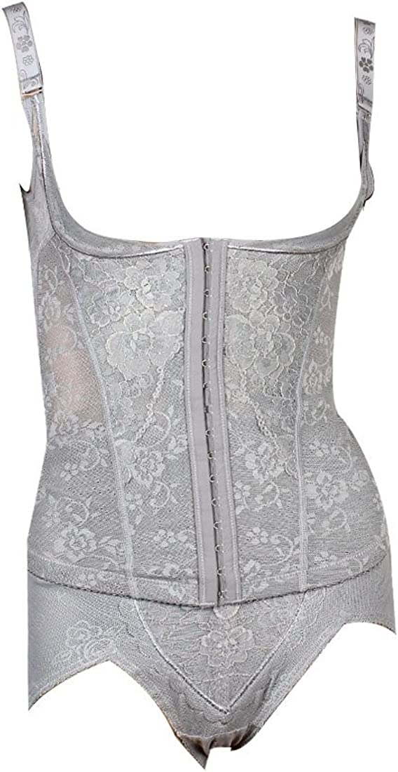 Allegra K M Women Gray Flower Print Elastic Thong Body Shaper Corset Shaperwear
