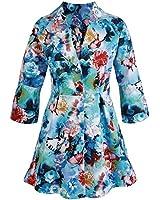 Women's Spring Jacket - Floral Butterfly Garden - Three Quarter Sleeves