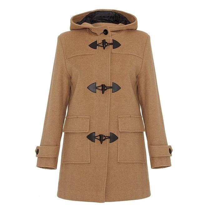 c08b7b22e3743 De La Creme - Camel Womens Wool   Cashmere Winter Hooded Duffle Coat Size  ...