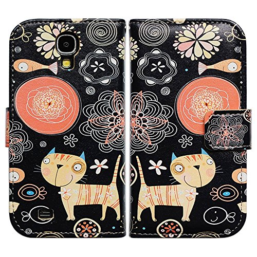 Bcov Brand Cute Cat Fish Floral Card Slot Wallet Leather Cover Case For Samsung Galaxy S4