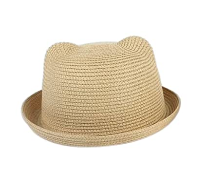 96d61d88 Aloiness Straw Sun Hats Fedora Trilby Hat Straw Beach Hats Foldable Wide  Brim for Women and Girls: Amazon.co.uk: Clothing