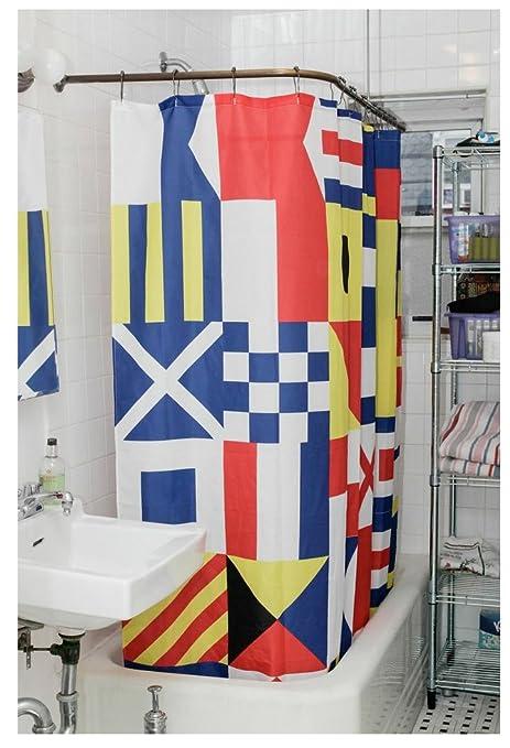 Amazon.com: Kikkerland Nautical Flag Shower Curtain: Home & Kitchen