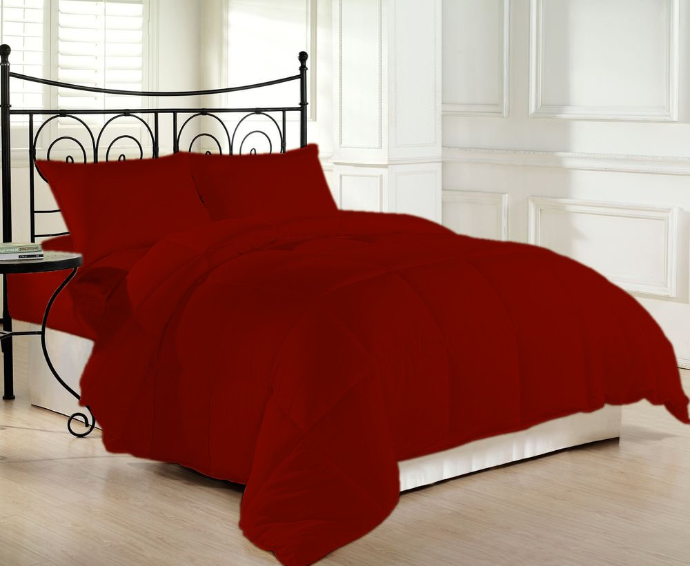 1200 Thread Count Luxurious and Cozy 100% Egyptian Cotton Comforter Maroon Twin XL By Kotton Culture Solid (Cocoon Feel 200 GSM Summer Weight Microfibre filling)