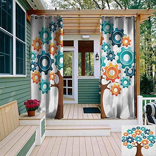 DONEECKL Outdoor Window Curtains Industrial Innovation Gears Concept Tree System of Nature Cooperation Start Up Modern Graphic Pergola W108 x L84 Multi