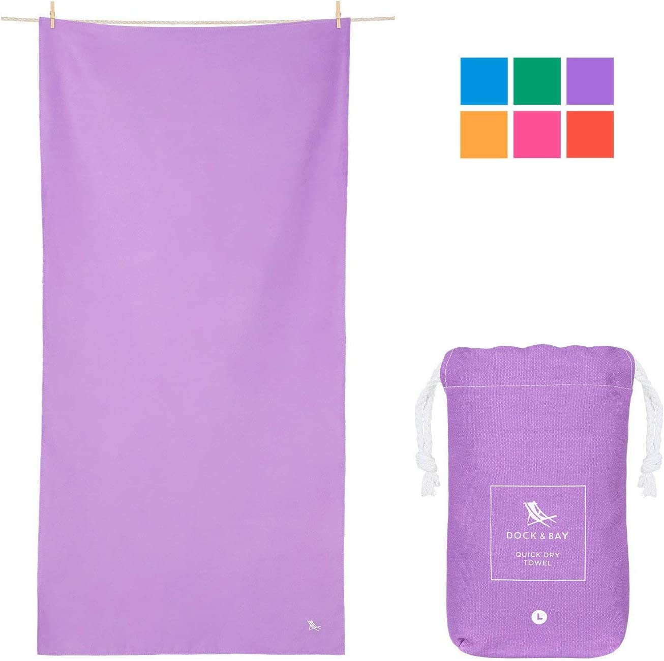 Dock & Bay Quick Drying Travel Towel - Patagonia Purple, 78 x 35 - Beach, Travel & Yoga - hot Yoga, Sports, Shower
