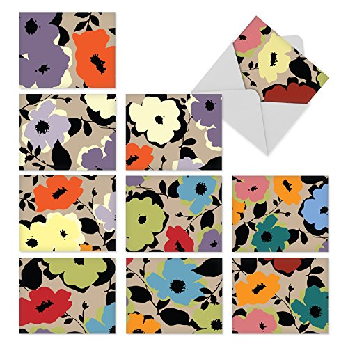 Abstract Art Blank Note (M3104 Bold Blooms: 10 Assorted Blank All-Occasion Note Cards Feature Abstract Flowers With a Pop Art Feel, w/White Envelopes.)