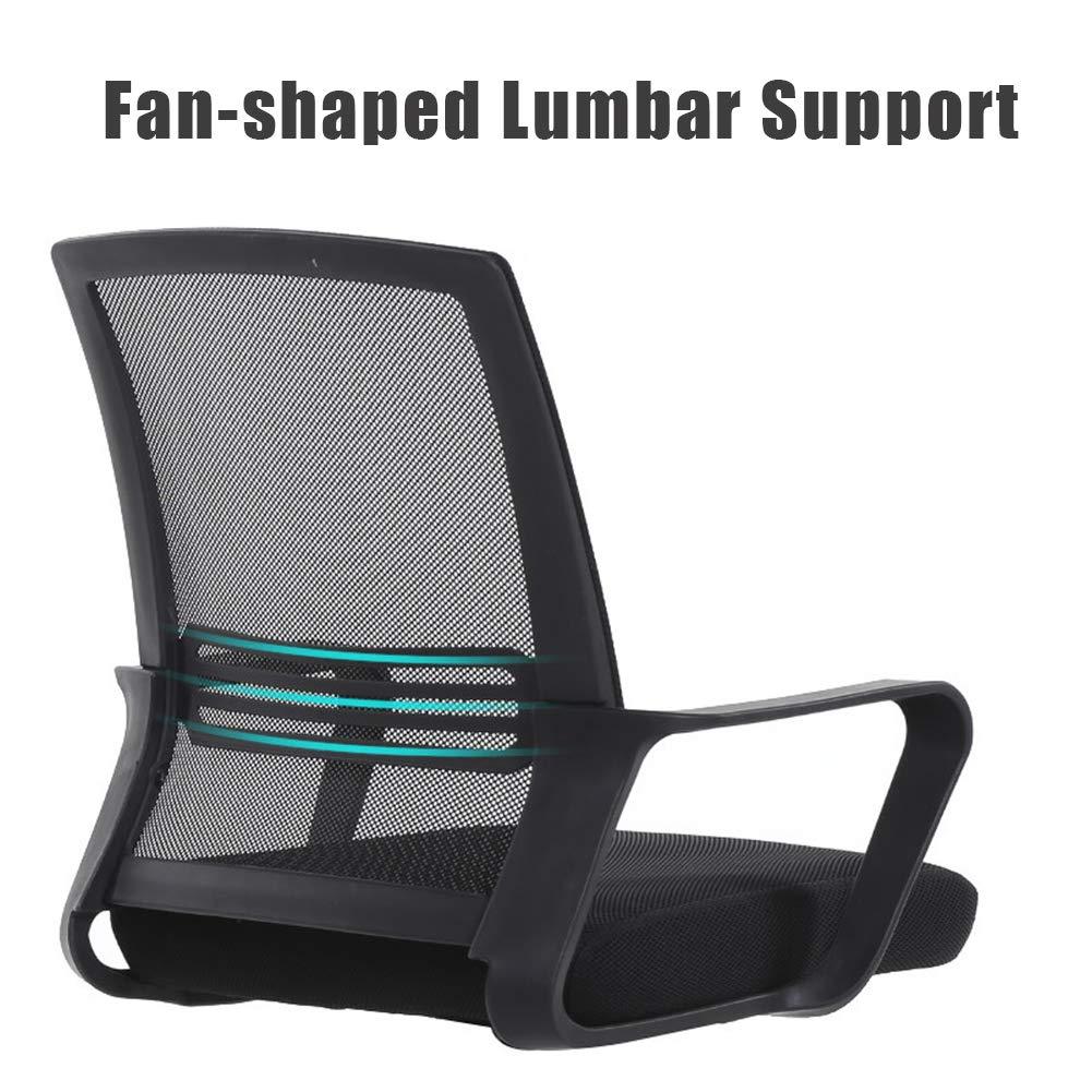 Kontorspersonal stol, hemmakontor dator stol nät ryggstöd, andningsbar och bekväm, spelfåtölj, ergonomi, mötesrum, svart Svart