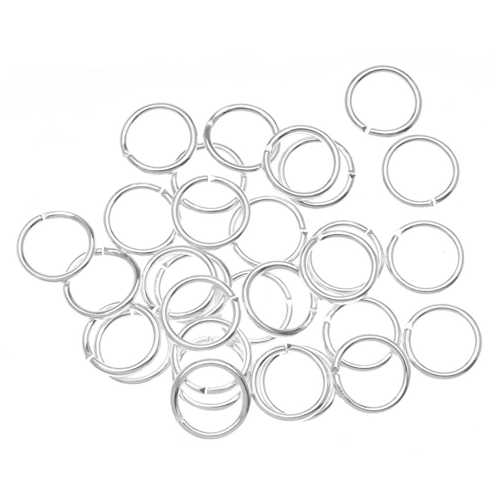 Beadaholique 100-Piece Open Jump Rings, 8mm, Silver JR/040X8/S