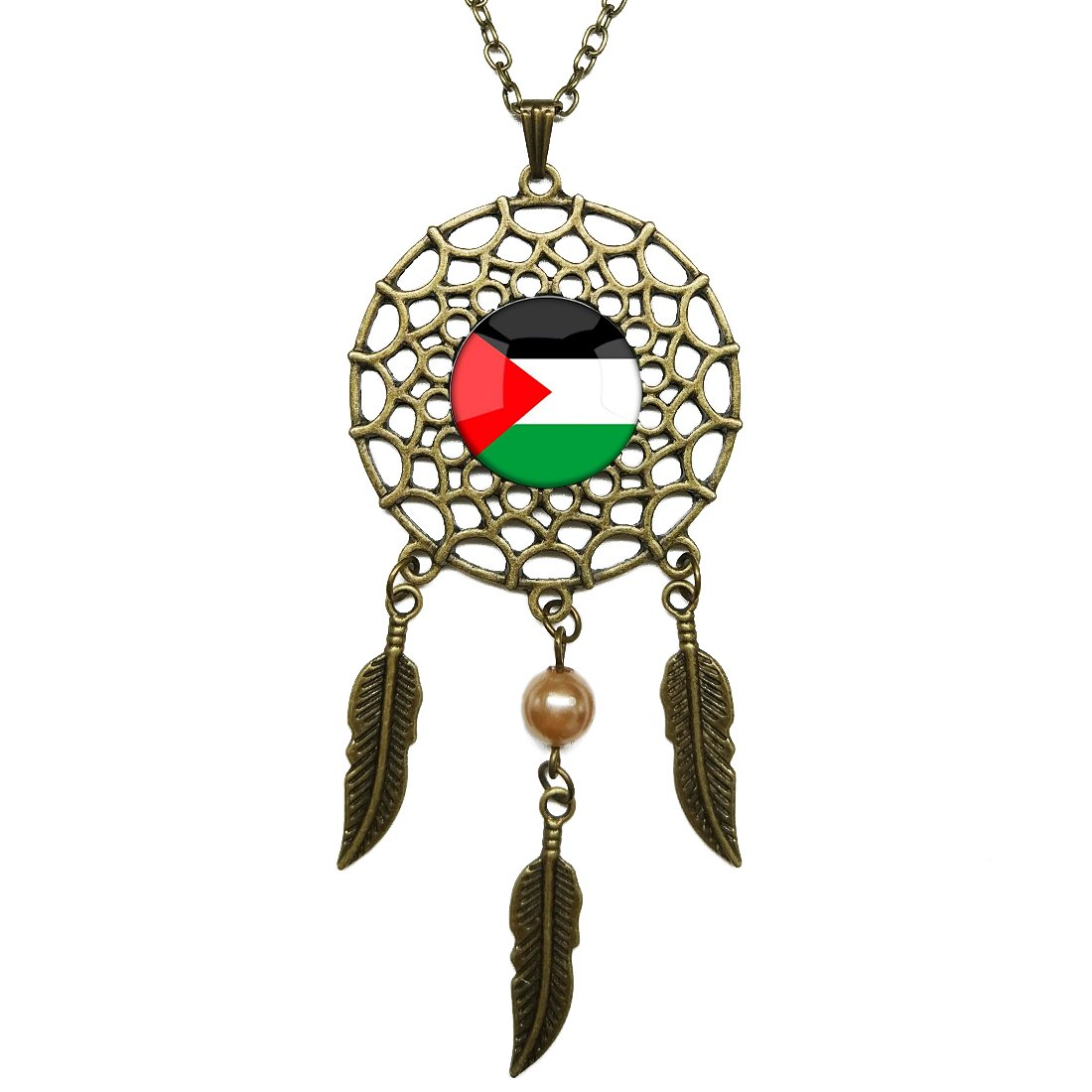 Dreamcatcher Pendant The Hashemite Kingdom of Jordan National Flag Bronze Chain Long Necklace Jewelry Dangling Feather Charms Glass Inlaid