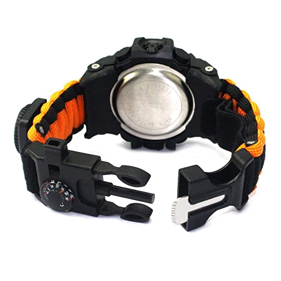 Amazon.com: Outdoor Survival Watch-Vovomay Bracelet with Flint Fire Starter Compass Whistle (B): Cell Phones & Accessories