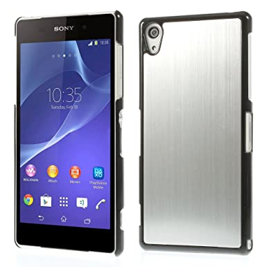 best authentic 06053 82712 Sony Xperia Z2 Phone Silver Aluminum Metal Back Case Hard Cover with Black  Frame|2 Screen Protectors