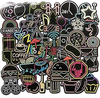 DADATU Pegatinas 50 Unids Colorido Neon Light Pegatinas Lindo Bar Decor Anime Icono Animal Graffiti Calcomanías para Skateboard Equipaje Portátil Bicicleta TV: Amazon.es: Electrónica