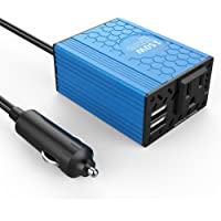 VOLTCUBE Car Power Inverter DC 12V to 110V AC Converter with 3.1A Dual USB Charger (150W, Blue)