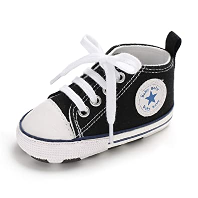 449ff26e74194 Infant Baby Boys Girls Lace Up Canvas Shoes Sneakers Soft Sole Anti ...