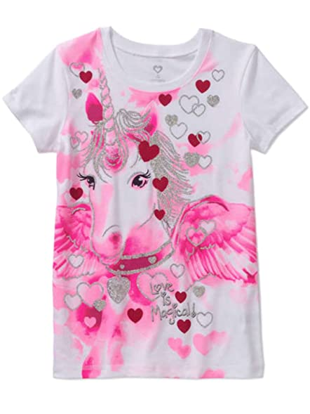 Amazon Com Girls White Glitter Unicorn Valentines Day Tee Shirt