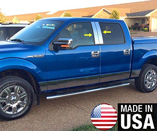 (Made In USA! Works With 2004-2014 Ford F150 Super Cab/Crew Cab 4PC Stainless Steel Pillar Post)