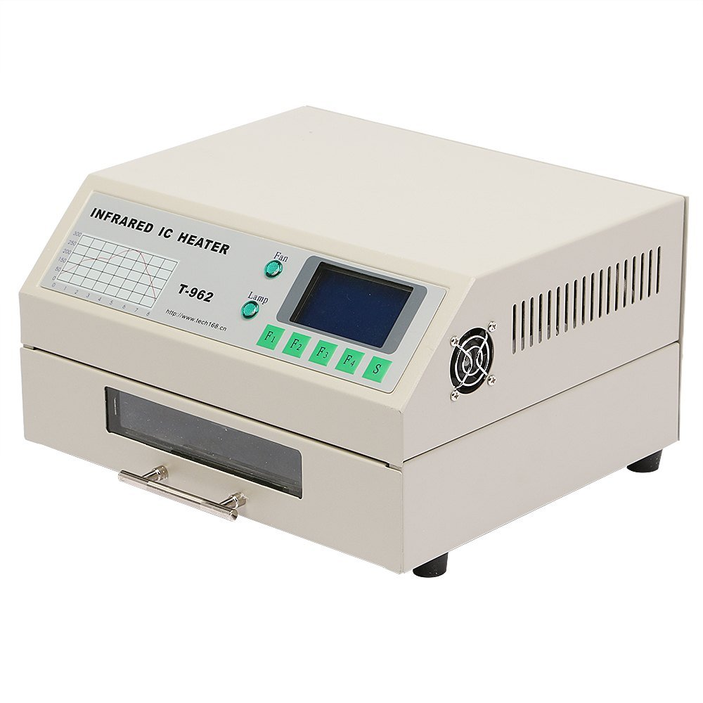 Happybuy T962 Reflow Oven Infrared IC Heater Soldering Machine 800W 180 x 235 mm SMD SMT BGA Soldering Automatic (180 x 235 mm)