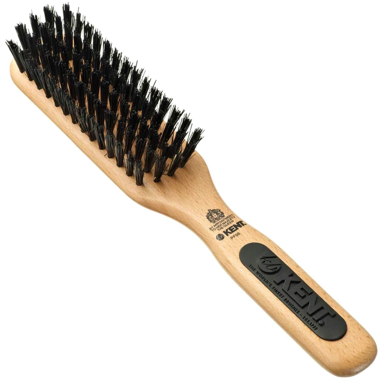 KENT PF06 Natural Wood Boar Bristle Hair Brush - Straightening Brush and Styling Brush for Short to Medium Length Hair - Natural Bristle Hair Brush, Travel Hair Brush, and Smoothing Brush