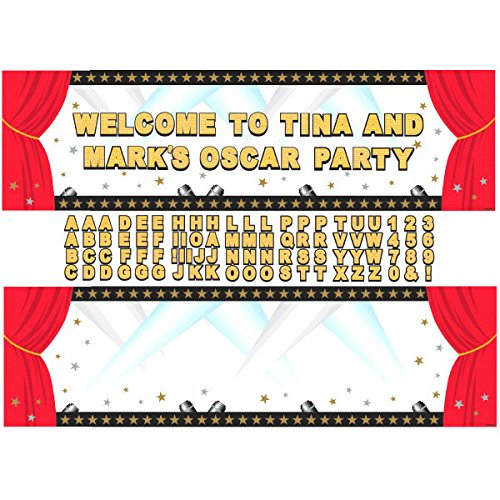 Amscan Elegant Hollywood Personalized Giant Party Sign Banner Decoration, 65'' x 20'', Pack of 88. Supplies (1056 Piece) by Amscan