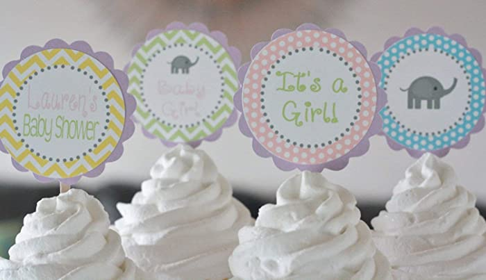Amazon Com 12 Elephant Baby Shower Cupcake Toppers Pastel Pink