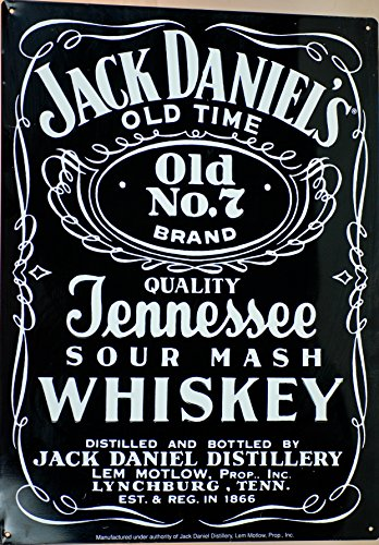 1980 - Jack Daniel Distillery - Vintage Jack Daniel's Old Time - Old No. 7 Brand - Quality Tennessee Sour Mash Whiskey - Tin Sign - Direct From Jack Daniel's Store - Black w/ White Lettering - OOP - Very Rare - Collectible