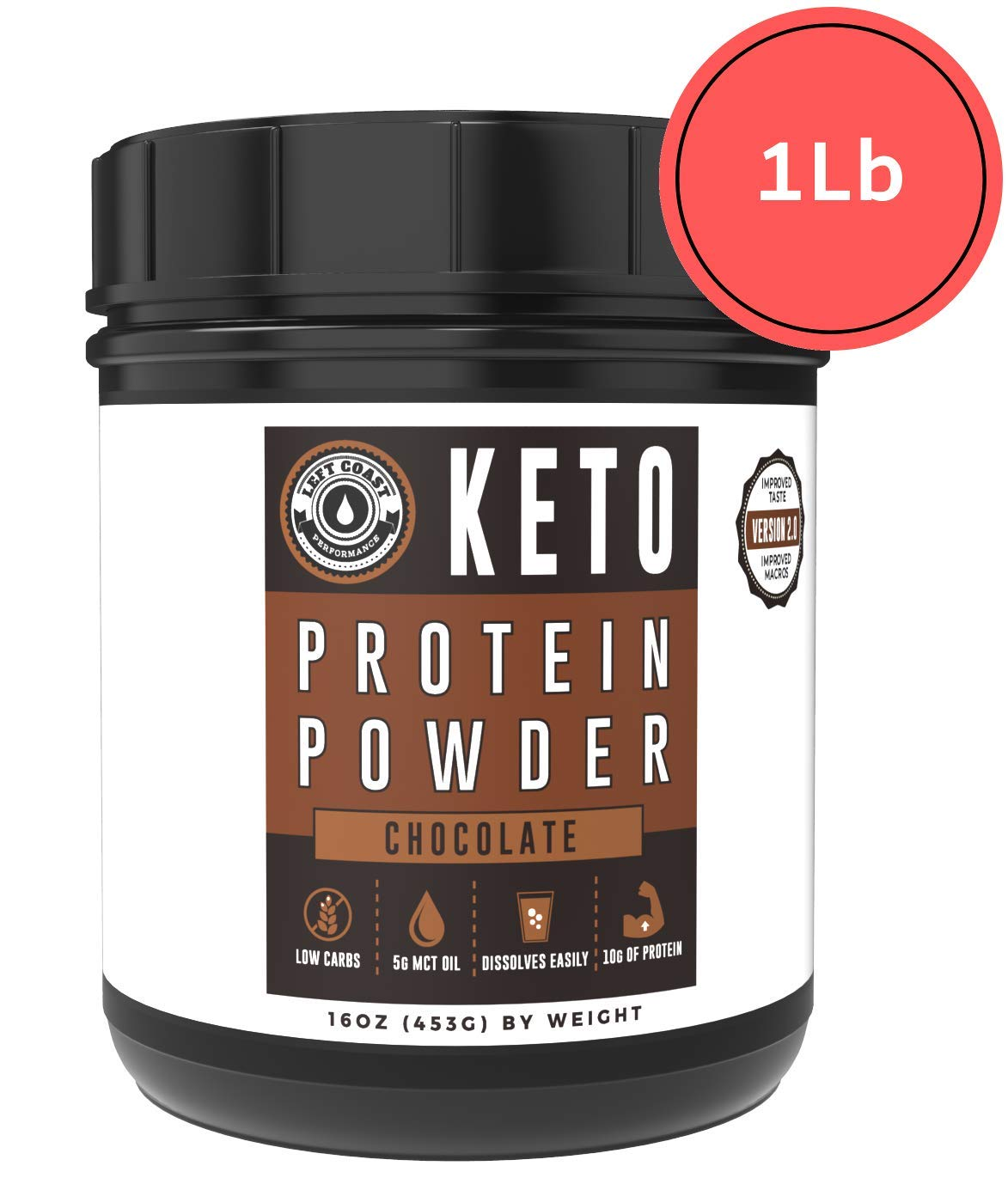 Keto Collagen Protein Powder Chocolate - MCT Powder, Grass-Fed Collagen| 1lb, 25 Servings, No Carb Protein Powder, Low Carb Meal Replacement Shakes, Ketogenic Shake Mix | Left Coast Performance by Left Coast Performance