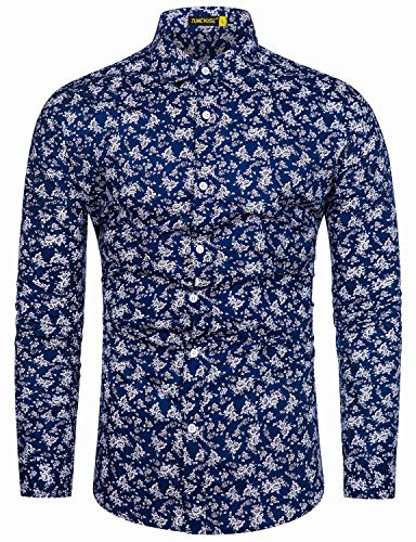 TUNEVUSE Men Floral Dress Shirts Long Sleeve Casual Button Down Shirts 100% Cotton Navy Blue Floral X-Large