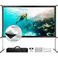 Projector Screen with Stand, Upgraded 3 Layers 120 inch 4K HD 16:9 Outdoor/Indoor Portable Front Projection Screen…