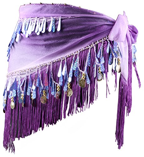 Yeeco Women's Belly Dance Triangle Shape Hip Rap Scarf with Dangling Gold Coins (Purple) ()