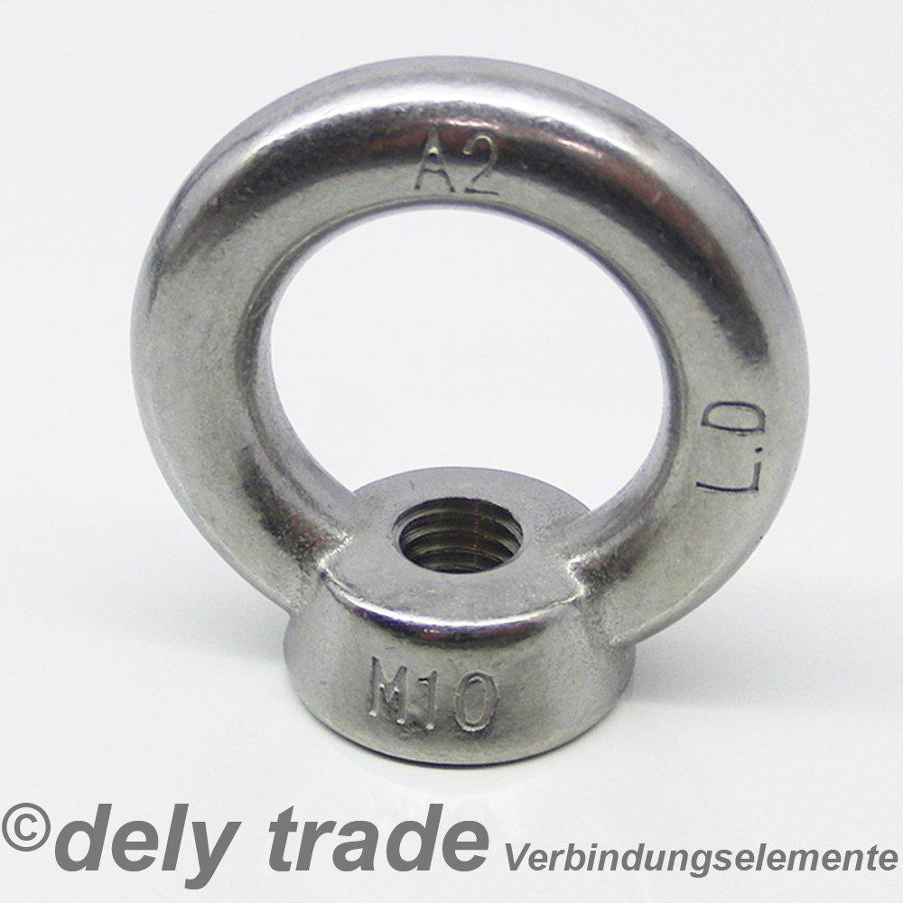 1 St/ück Ringmutter M12 gegossen u DIN 582 Edelstahl A2 poliert /ähnl