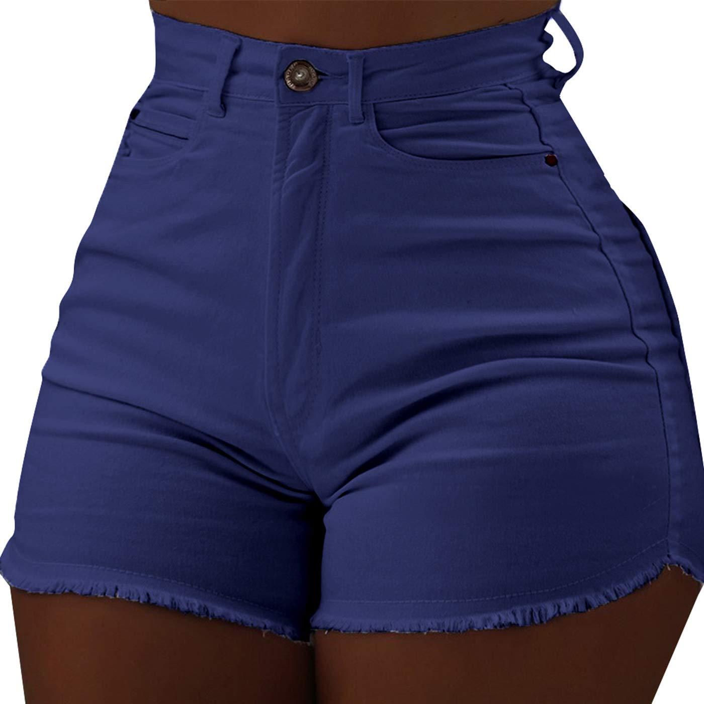 Vintage Retro High Waist Frayed Raw Hem Body Enhancing Denim Shorts Jeans Denim Hot Shorts for Women