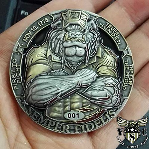 USMC-Bulldog-Semper-Fidelis-Challenge-Coin-Double-Sided-2-Inch-Diameter-Pewter-Lead-Free