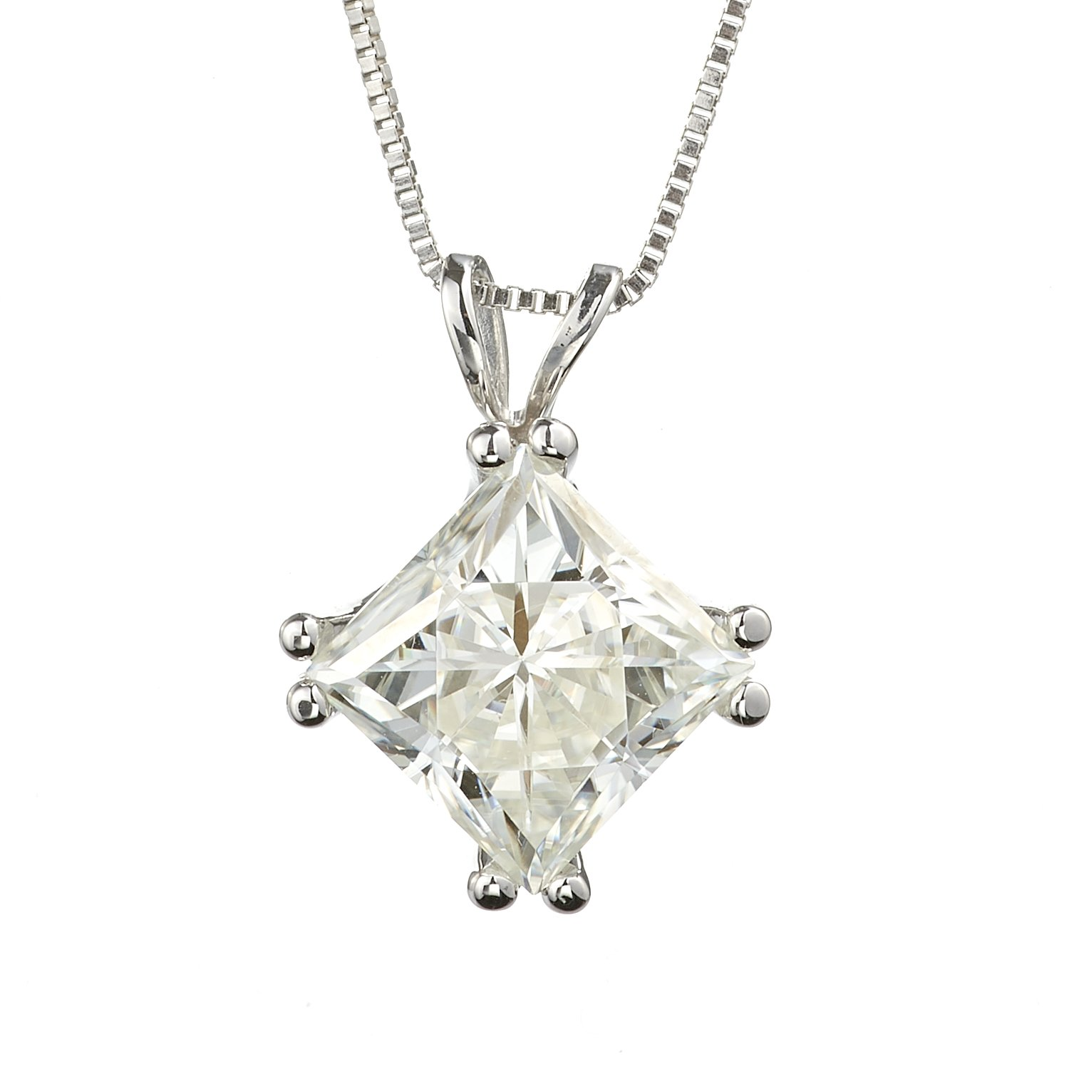 Square Brilliant Cut 7.0mm Moissanite Solitaire Pendant Necklace, 2.10ct DEW By Charles & Colvard