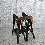HYD-Parts Clamping Sawhorse Pair with Bar Clamps, Built-in Shelf and Cord Hooks