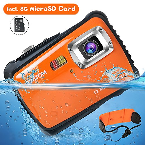 "Kids Underwater Camera - AIMTOM Kids Underwater Digital Waterproof Camera with 8G microSD Card, 12MP HD Boys Girls Action Camcorder, 2"" Screen Children Birthday Holiday Gift Learn Sports Cam - Floating Wrist Strap (Orange)"