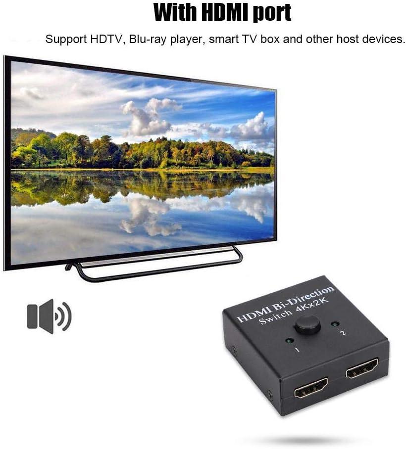Distribuidor/conmutador bidireccional HDMI,3D 1080P 4Kx2K 1X2 HD Divisor bidireccional HDMI Selector de conmutador de 2 Puertos 2 entradas 1 Salida,Soporte HDTV,Reproductor de BLU-Ray,Smart TV Box: Amazon.es: Electrónica