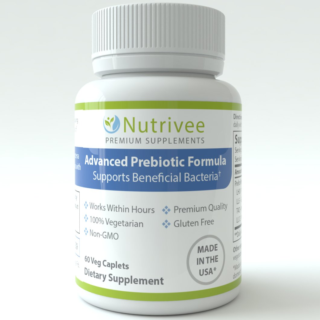 Nutrivee Advanced Prebiotic - Supports Beneficial Bacteria - Works Within Hours - 60 ct.