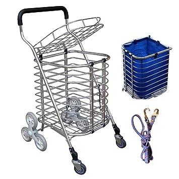 WUFENG-carrito compra Sellado Subir Las Escaleras Compras De Comestibles Plegable Portátil Casa (Color : La Plata, Tamaño : 54x42x86cm): Amazon.es: Hogar