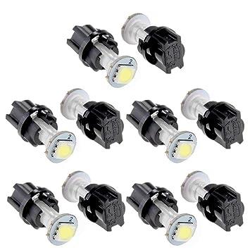 CARCHET® 10 x T5 0.2W 1 LED 5050 SMD Bombilla Luz Blanco para Salpicadero de Coche: Amazon.es: Coche y moto