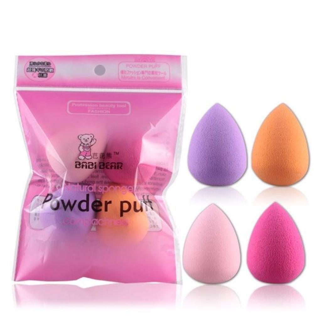 iTemer 4 Piezas hú meda y Seca Gota de Agua Esponja Puff Maquillaje Base licuadora Mezclador de Belleza