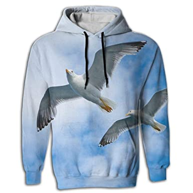 ff81ada7aec Unisex 3D Fun Print Sweaters With Pockets Hoodie Flying Gulls Seabird Cool  Fashion Hip Hop Sports