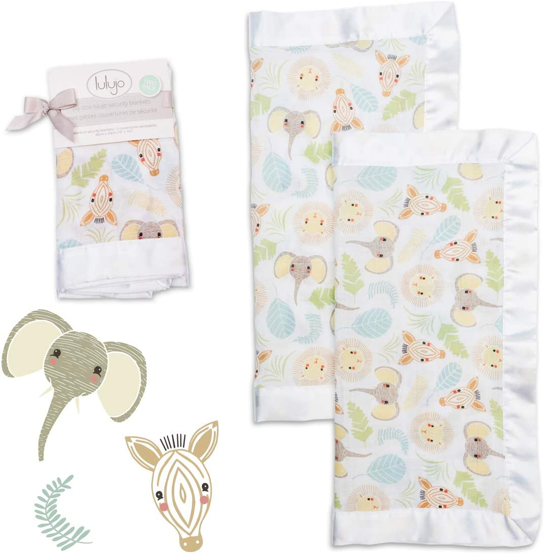 Jungle Safari lulujo Baby Security Lovie Blankets 16in by 16 in Neutral Comforting Blanket for Girls /& Boys Unisex Softest Breathable Cotton Muslin Security Blanket with Silky Satin Trim