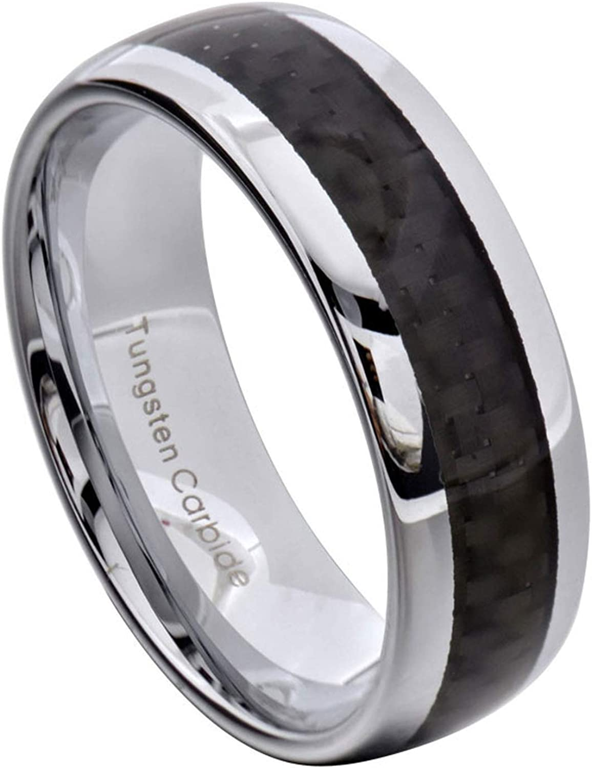 Tungsten Ring 8MM Dome Black Carbon Fiber Mens Wedding Ring Size 8-13