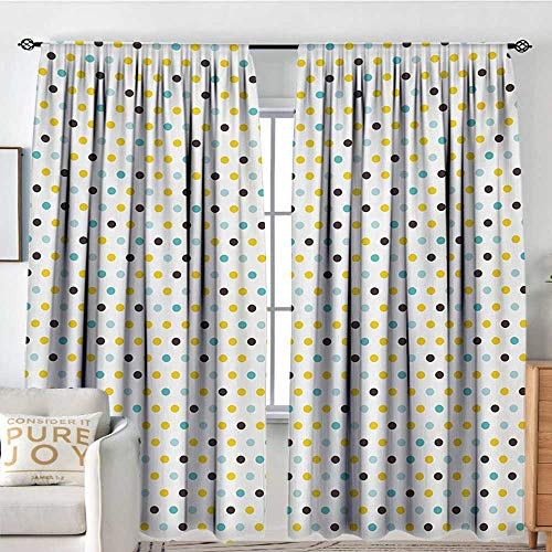 Petpany Window Blackout Curtains Kitchen,Polka Dots Rounds Vintage Retro 58s 50s Themed Image,Brown Mint Green Pale Blue and Marigold,for Room Darkening Panels for Living Room, Bedroom 84