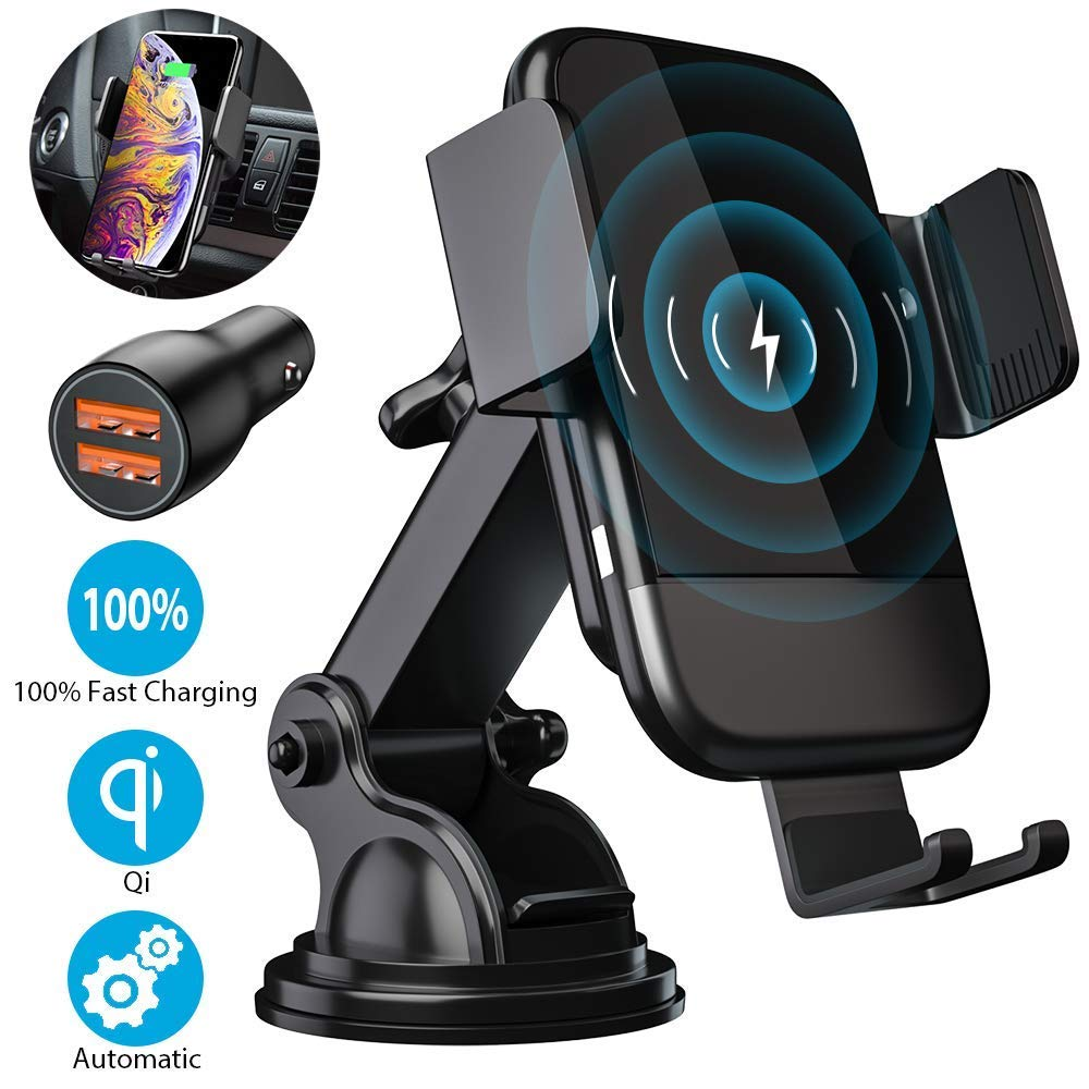 Wireless Car Charger, CTYBB Qi Auto-Clamping Air Vent Dashboard Car Phone Holder & QC3.0 Car Charger, 10W Compatible for Galaxy S10/S10+/S9,Charging for iPhone 11/11 Pro/11 Pro Max/iPhone Xs/Xs Max/XR by CTYBB