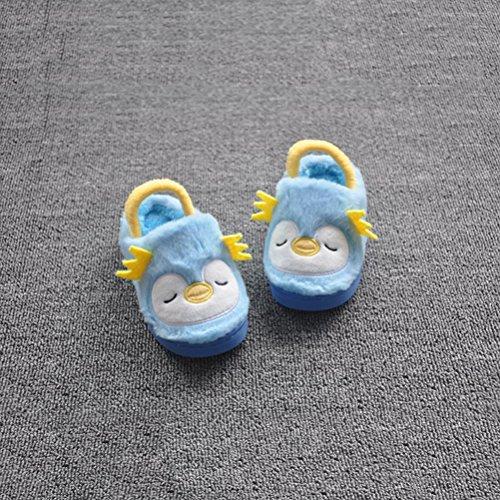Accueil Taille Pantoufles 18 Garçons pour LUOEM les Chaussures Brun d'Hiver Filles Doux Chaudes 19 Non Ours Bleu Mignon Âge Enfants En Bas slip Fpxq8xT